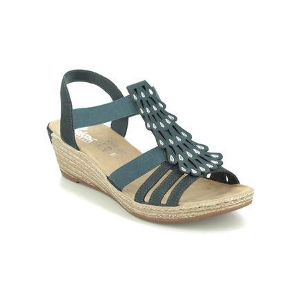 Rieker Wedge Sandals - Navy - 62436-14 FAWNTEAR