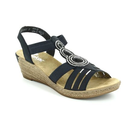 Rieker Wedge Sandals - Navy - 62459-14 FAWNBLING