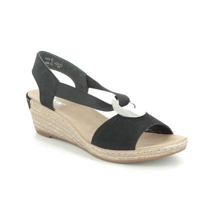 Rieker Wedge Sandals - Black - 624H6-00 FAWNELDA