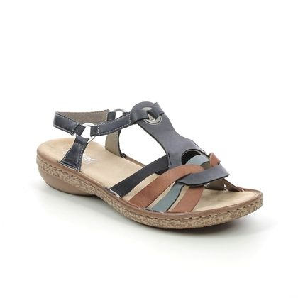 Rieker Comfortable Sandals - Navy Tan - 62857-14 REGILINOS
