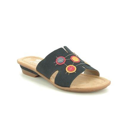 Rieker Slide Sandals - Navy - 634A0-14 YOKOSLIDE