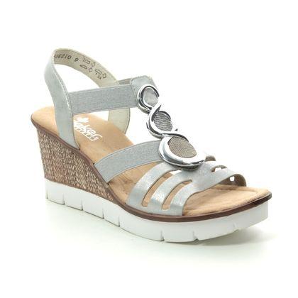 Rieker Wedge Sandals - Silver - 65540-40 ALTOR