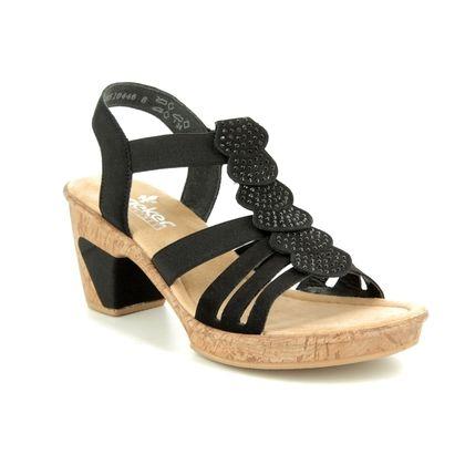 Rieker Heeled Sandals - Black - 69702-00 ROBRUFFLE