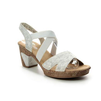 Rieker Heeled Sandals - White-silver - 69720-80 ROBELLA