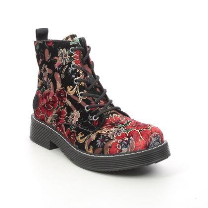 Rieker Biker Boots - Black fabric - 70010-90 FLOORY