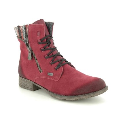 Rieker Boots - Ankle - Red suede - 70840-35 PEERY