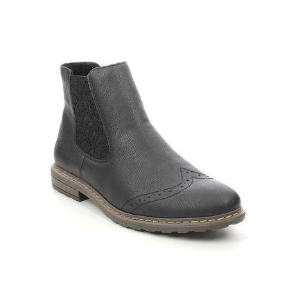 Rieker Chelsea Boots - Black - 71072-00 BRAUN