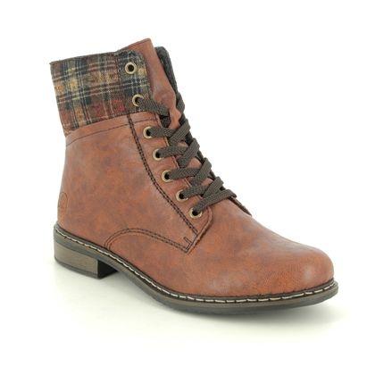 Rieker Lace Up Boots - Tan - 71241-24 PEERTAN