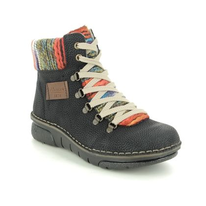 Rieker Lace Up Boots - Black - 73343-00 JOLLYPEEP