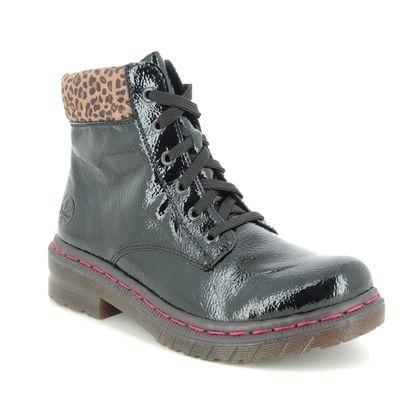 Rieker Lace Up Boots - Black patent - 76212-00 DOCSY LEP