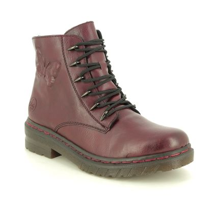 Rieker Lace Up Boots - Wine - 76233-35 DOCFLY
