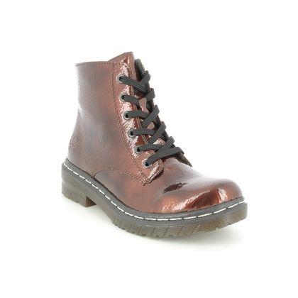 Rieker Biker Boots - Bronze patent - 76240-25 DOCSY 05