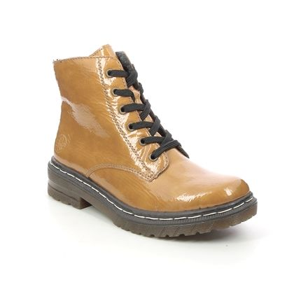 Rieker Lace Up Boots - Yellow Patent - 76240-68 DOCSY 05