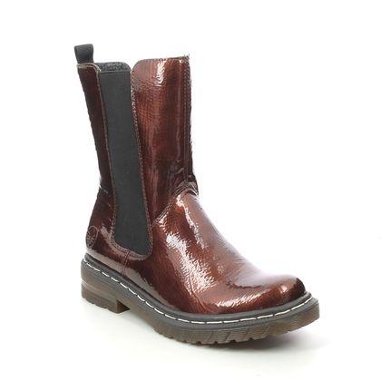 Rieker Mid Calf Boots - Bronze patent - 76280-25 DOCHEL HI