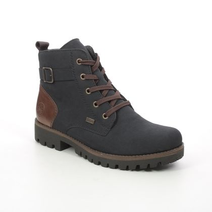 Rieker Lace Up Boots - Navy Brown - 78502-14 GAMPER TEX 15
