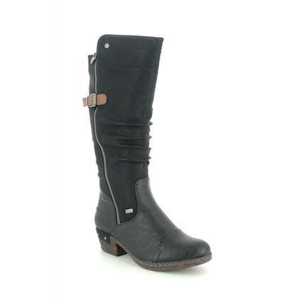 Rieker Knee High Boots - Black - 93654-00 BERNAHI TEX