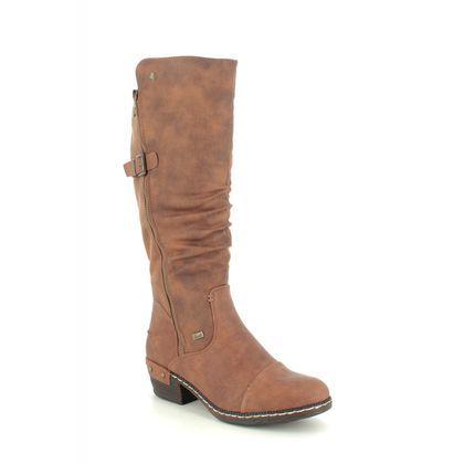 Rieker Knee High Boots - Tan - 93654-22 BERNAHI TEX