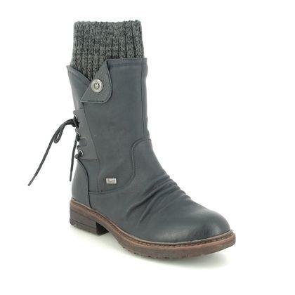 Rieker Mid Calf Boots - Navy - 94750-14 FRESCANDROS