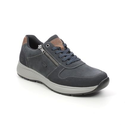 Rieker Casual Shoes - Navy leather - B7613-14 DELSON ZIP TEX