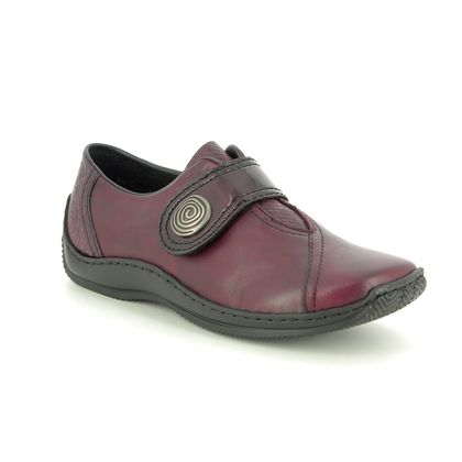 Rieker Comfort Slip On Shoes - Wine leather - L1760-35 CELIAVEL