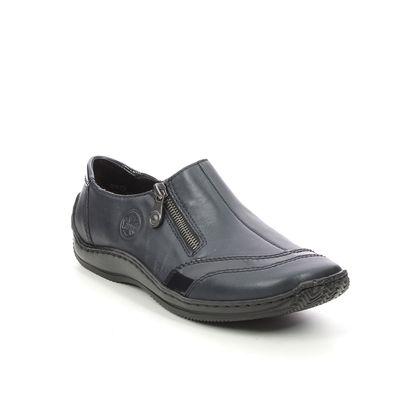 Rieker Comfort Slip On Shoes - Navy Leather - L1761-14 CELIAZITU
