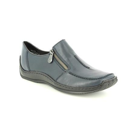 Rieker Comfort Slip On Shoes - Navy leather - L1780-16 CELIAZIP