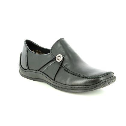 Rieker Comfort Slip On Shoes - Black leather - L1781-01 CELIA 62