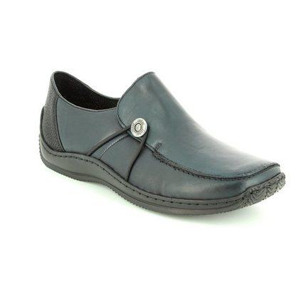 Rieker Comfort Slip On Shoes - Navy leather - L1781-14 CELIA 62