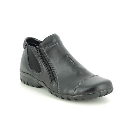 Rieker Boots - Ankle - Black leather - L4652-00 BIRBOCAP WIDE FIT