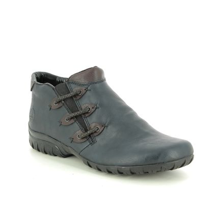Rieker Comfort Slip On Shoes - Navy Brown - L4689-14 BIRBOZA