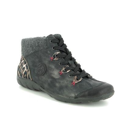 Rieker Comfort Lacing Shoes - Black grey - L6513-03 LIVCLOWN