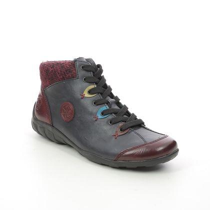 Rieker Comfort Lacing Shoes - Navy Wine - L6513-37 LIVCLOWN