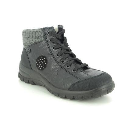 Rieker Lace Up Boots - Black - L7110-01 EIKECUFF