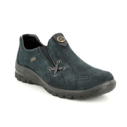 Rieker Comfort Slip On Shoes - Navy suede - L7171-14 EIKESU