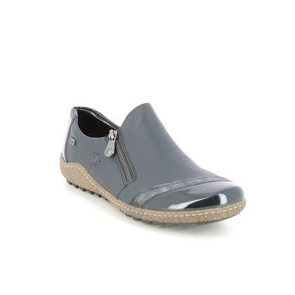 Rieker Comfort Slip On Shoes - Navy leather - L7571-14 ZIGSHU TEX