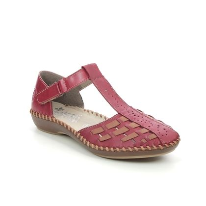 Rieker Closed Toe Sandals - Red-tan combi - M1658-33 VALLSINA