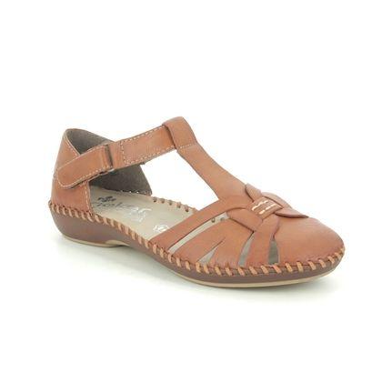 Rieker Closed Toe Sandals - Tan Leather - M1663-24 VALLAT