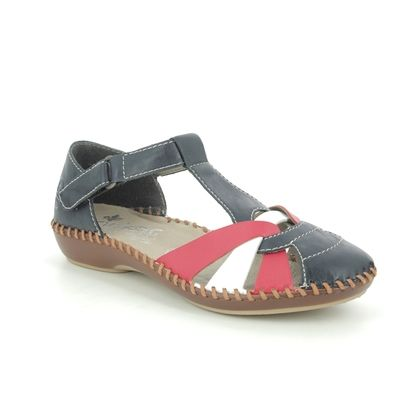 Rieker Closed Toe Sandals - Navy Red White - M1668-15 VALWEAVE