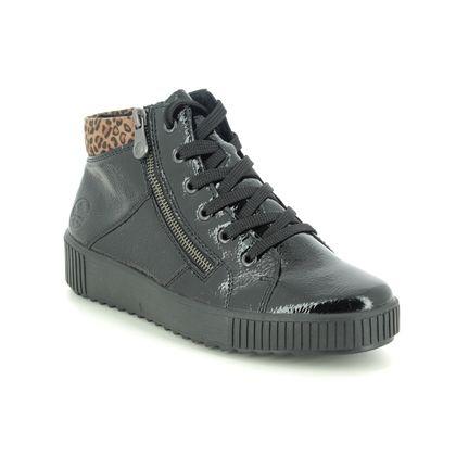 Rieker Lace Up Boots - Black patent - M6434-01 DURLOLEP