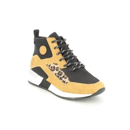 Rieker Lace Up Boots - Yellow Black - N7610-68 TALABOO TEX
