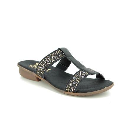 Rieker Slide Sandals - Black - V0454-00 FRANKIE