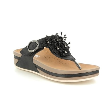 Rieker Toe Post Sandals - Black - V1461-00 LUNGER