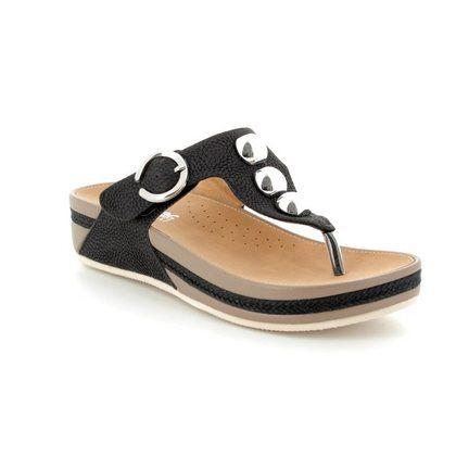 Rieker Toe Post Sandals - Black - V1490-00 LUNGE