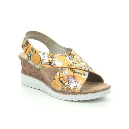 Rieker Wedge Sandals - Yellow - V35H6-90 ALTICOLO
