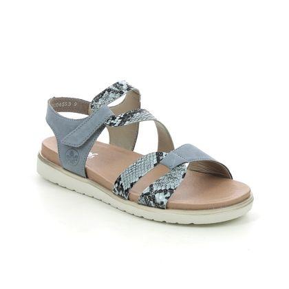 Rieker Flat Sandals - Blue Suede - V5069-12 COLUMBO