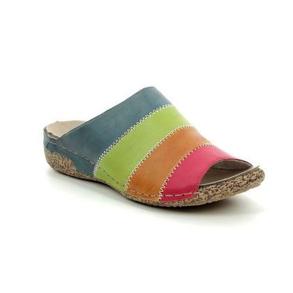 Rieker Slide Sandals - Multi Coloured - V7266-34 CLARE