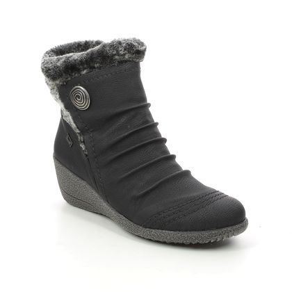 Rieker Wedge Boots - Black - Y0363-01 NOOMITEX