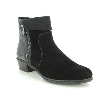 Rieker Ankle Boots - Black Suede - Y0752-00 STEFTONE