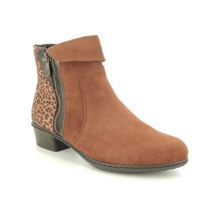 Rieker Ankle Boots - Tan Suede - Y0752-24 STEFTONE