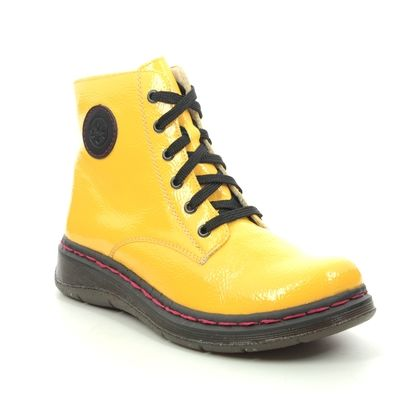 Rieker Lace Up Boots - Yellow Patent - Y3200-68 DOCSYISH